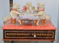 Three cats playing cards automaton